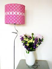 Pretty in pink.. Melissa Smith organic cotton lampshades. www.melissasmithtextiles.co.uk