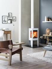 Jotul F163 silk white enamel stover, 5kW, 83% efficiency, £1,989, www.jotuluk.com