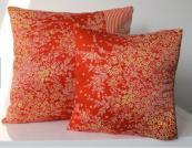 Red kimono silk cushions by Becca Cadbury Design. £36.45 for 45x45 cushion cover