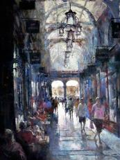 The Arcade, Norwich, pastel, 69x97cm, £850, by June Arnold