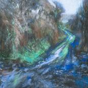 Muddy Lane, Cornwall, pastel & acrylic, 55x55m, by Sarah Bee