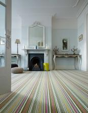 Crucial Trading's Biscayne stripe in lime is made from 100% Laneve wool, £46m2