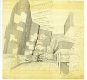 Drawing of Alvar Aalto's Finnish Pavilion at the World's Fair in New York 1939-40