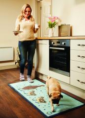 If you want a wood floor in the kitchen, a Hug Rug will catch grease and spills from the stove
