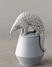 slip cast porcelain vessel with Indian pangolin by Charlotte Mary Pack, £220