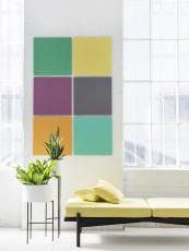 Use EchoPanel in different colours as modern art...that comes with the perk of being sound absorbing
