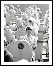 A worker who seemed to be genuinely happy at work in the Fray Bentos factory in Warrington in the late '60s. Leica M3 camera, HP4 film