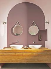 warm pinky tones..but not a girly girly sugary pink...perfect for a bathroom