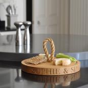 Personalised oak cheese board from The Oak & Rope Company