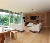 Wood is the predominant material in as well as outside the house