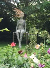 Life size figure by wire sculptor Rachel Ducker. Handmade in Britain
