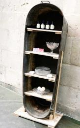 Eh voila! Kiss the Frog turn an old tin bathtub into a shabby chic shelving unit
