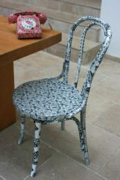 Fabric covered bentwood chair, £95, with fabric covered phone to boot. www.designs byviva.co.uk
