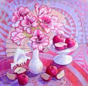 Ann Wilkinson's Fruit and Flowers on a Patterned Cloth, £850