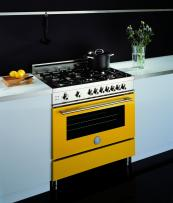 Bertazzoni X90 freestanding range cooker in vibrant yellow has specially designed gas burners. From £2,200