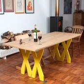 Steuart Padwick's space-saving Double Cross dining table has painted plywood legs and an oak veneer top. From £740. www.steuartpadwick.co.uk