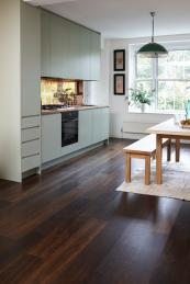 Junckers' solid wood black oak wide  boards, FSC/PEFC cert, £96m2