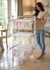 Lakeland's DrySoon 3-tier Heated Airer, £92.99 costs 5 pence an hour to run (approx). www.lakeland.co.uk