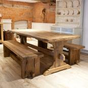 Mobius Living's Monastery Dining Table in reclaimed oak, from £1,755. www.mobius-living.co.uk