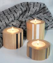 Groove ash wood tea light holders, from £28