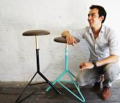 Jeremy Grove with their Butler stool. Its height can be adjusted, the frame is recyclable and the seat cover is degradable faux leather