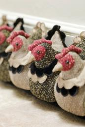 Laying hens draught excluder, £59.99 will prove a talking point..www.draftexcluders.com