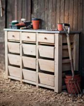 Spruce 12-drawer storage unit with zinc top, £300, www.gardentrading.co.uk