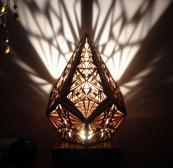 Beautiful Five Pointed Prism light made using reclaimed wood, metal and LED lamps, £150, www.amberlights.work