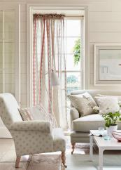 Linen fabrics from UK textile designer Vanessa Arbuthnott's new Artisan collection, which features soft hues and contemporary geometric patterns.