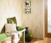Eco Willow Green wallpaper by Lancs-based Arthouse uses a mix of recycled and FSC-cert paper and water-based inks. www.arthouse.com