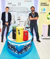 Marius Smit (right) with Brabantia's UK sales director David Slater. The Newicon bins will provide cash for Plastic Whale