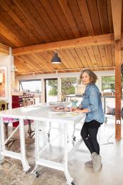 Bonnie Saland designing in her studio
