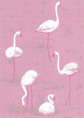 Close up of Cole & Son Flamingo paper from its New Contemporary collection, £76 per roll