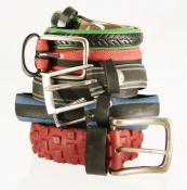 Colourful belts made from bicycle tyres