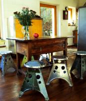 The stools have a Dalek-like quality which Dr Who fans won't have missed