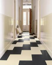 Use Marmoleum tiles to create a black and white geometric design. Click tiles from £63m2 at Urbane Living