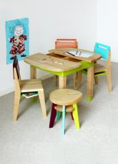 Aldabra chairs and table made from solid wood by French company Nonah