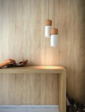 For focused light..Cork and painted aluminium LED Pila pendants from Estiluz