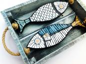 Fish Crate, mosaic and wood, by Lincs-based Angela Ibbs. www.angelaibbsdesigns.co.uk