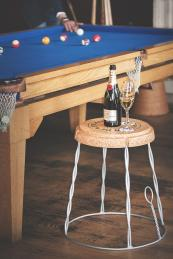 Fun for parties..Giant Champagne cork side table from Cheltenham-based  XLcork.com, £150, H50cms