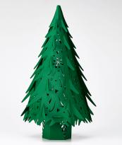 Paper Christmas trees for the mantelpiece (36cms high) with LED button light, £13.95 from The Hanging Lantern Company