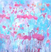 Royal Flush: British artist Jeremy Houghton loves to paint flamingos. Prints of his paintings are available, £395 54x56cm