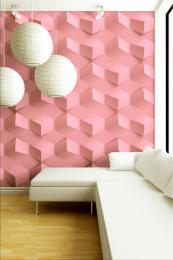 Recycled paper 3D wall panels painted pink, from US brand MioCulture, £32 for 12 plus shipping.