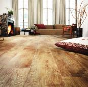 If you're on a budget, Moduleo's country oak vinyl is a good alternative to the real thing