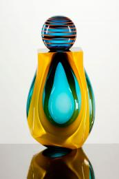 Dazzlingly beautiful glass bottle by Lawrence West. www.lawrencewestglassart.co.uk