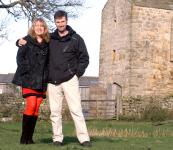 Archeologists Caroline and Niall Hardie-Hammond outside their sweet little castle