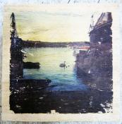 Swan woodprint by Grounded Sailor. Photograph printed onto wood salvaged from Falmouth boatyard