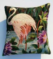 Flamingo cushion, £60, made from vintage French tapestry by upholsterer and upcycler Heather Linnitt of www.eclectic-chair.com