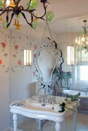 Glass walls with silver gilding (verre eglomisé). Embroidered wallpaper by Claire Coles