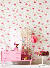 Perfect for a girl's bedroom, Felicity Flamingo from UK brand Scion's Guess Who? collection, non woven wallpaper, 52cm width, £28 a roll, Scion.uk.com